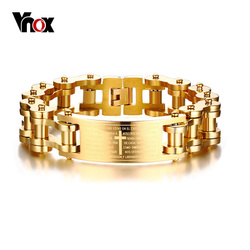 Vnox 17.5MM Wide Heavy Men's Bible Cross Bike Chain Bracelet Gold Tone Stainless Steel Motorcycle Bicycle Braslet Male Jewelry