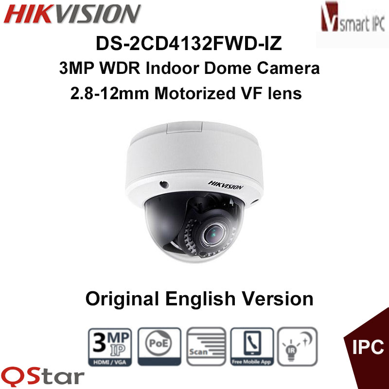 Hikvision Original English Version DS-2CD4132FWD-IZ 3MP WDR Indoor Dome Camera Motorized Smart Audio Detection CCTV Camera free shipping english version ds 2cd4132fwd iz 3mp 120db wdr smart ip indoor dome camera support 128g poe