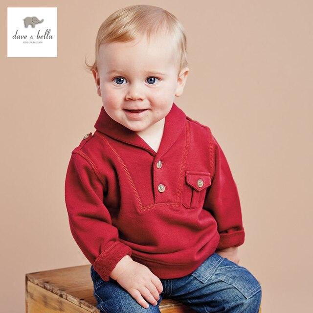 DB2717 дэйв белла осень 100% хлопок мальчиков футболка бутик наряды детская одежда детские Футболки мальчиков вершины мальчиков тройники