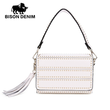 BISON DENIM Style Split Leather Crossbody Handbag Bags Women Shoulder Lady Causal Rivet Tassels Strap N1408