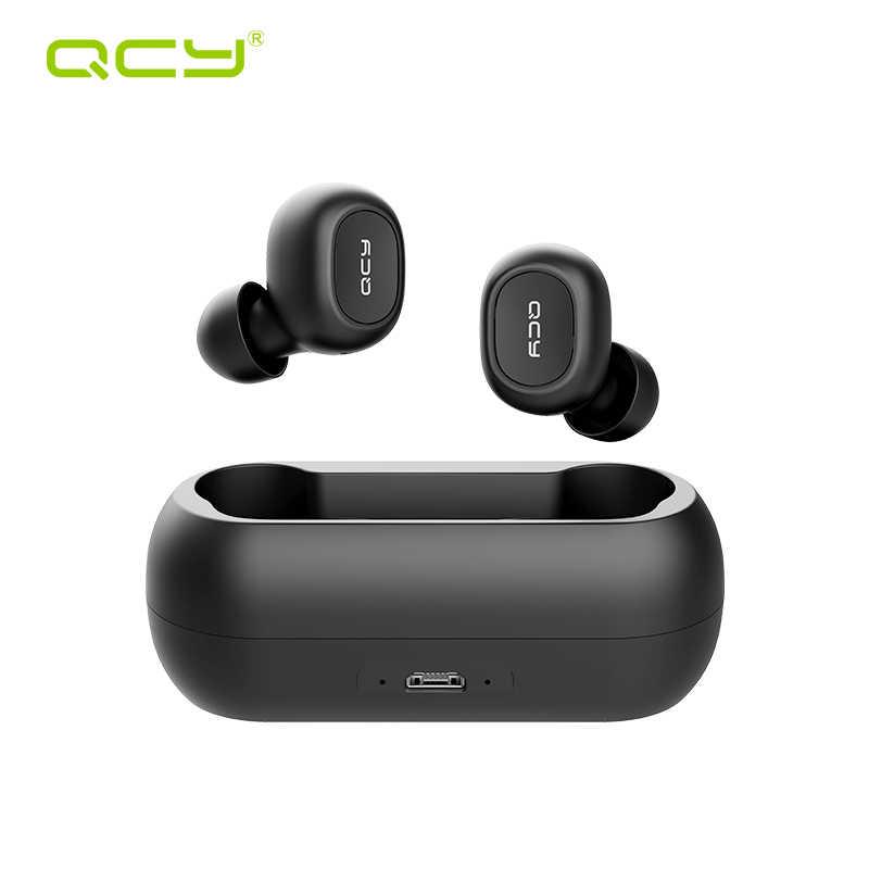 QCY QS1 T1C Mini podwójny V5.0 słuchawki Bluetooth prawdziwe bezprzewodowe słuchawki z mikrofonem 3D dźwięk Stereo słuchawki douszne podwójny mikrofon z okno ładowania