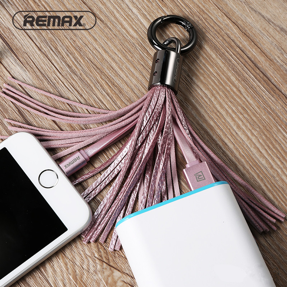 Remax USB Cable Leather Tassel 8pin USB Cable Metal Ring Key Chain Charge Data Cable Cord Charger Cable For iPhone 6 6S For iPad (14)