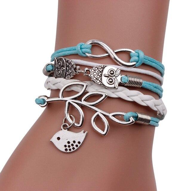 Gofuly 2018 Hot Sale Jewelry High Quality Bracelet Retro Women 8 Owl Leaf Bird Bracelet Bangle Charm Cuff Jewelry Wedding 1
