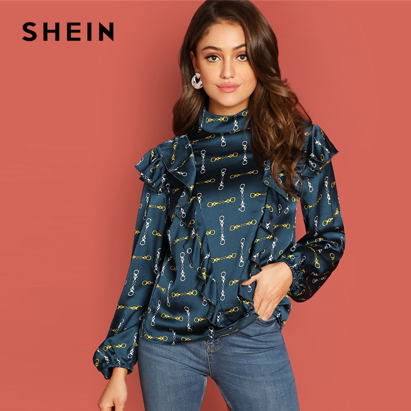 SHEIN Blue Office Lady Elegant Ruffle Detail Mock-Neck Allover Print Long Sleeve Blouse Autumn Workwear Women Tops And Blouses