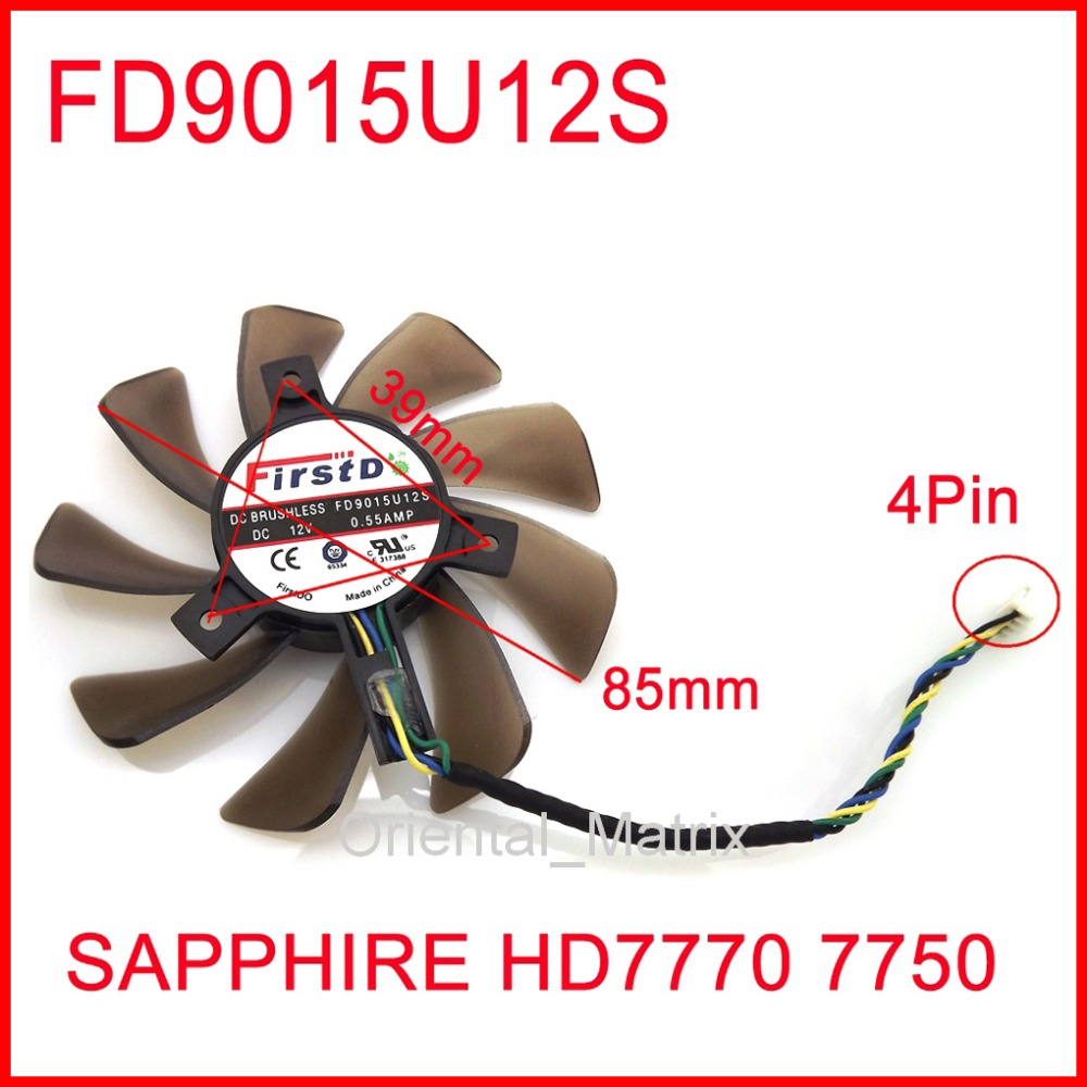 Free Shipping Firstdo FD9015U12S 12V 0.55A 85mm 39x39x39mm For Sapphire HD7770 7750 Graphics Card Cooler Cooling Fan 4Pin