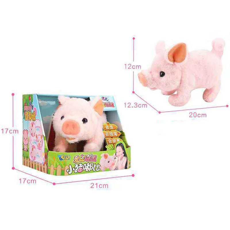 Купить с кэшбэком Happy Robot Pig Electronic Toys Plush Pink Pig Pet Toy Walk Wag Tail Grunt Arch Nose Toys For Children Birthday Gifts