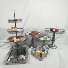 Heat Shape  Mirror Surface Wedding Dessert Tray Silver Cake Stand Party Birthday Decoration 6PCS/ Set