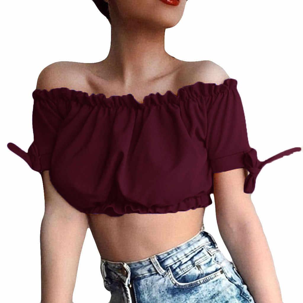 ファッション女性のセクシーな純粋な色フラウンス弓ネックオフショルダーブラウス 2019 ニュードロップ無料