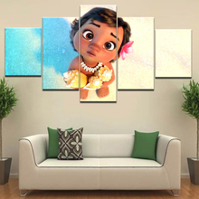 Canvas Pictures HD Print Kids Room Home Decor Wall Art Frame 5 Pieces Moana Painting Ocean Romance Cartoon Movie Poster Artwork
