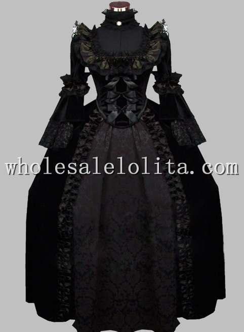 Роскошный готический черный Викторианский тематический костюм 19 век карнавальный костюм Хэллоуина - Цвет: Черный