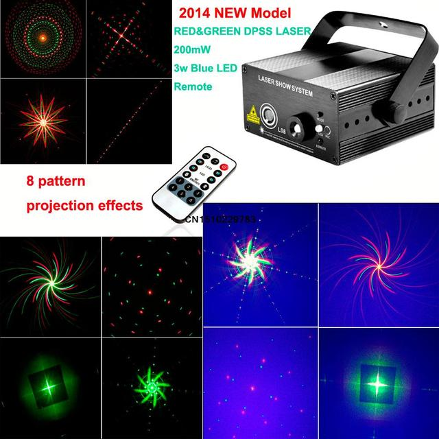 US $59 99 |new 2016 Arrival cool red green Laser projector 8 pattern blue  led Club Party Bar DJ light Disco Dance party Stage Lights B1-in Stage