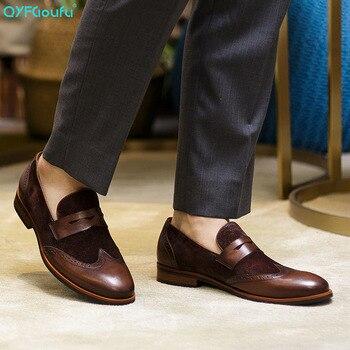 QYFCIOUFU Brand Genuine Leather Business Men Dress Shoes Retro Splice Oxford Shoes For Men Luxury Italian Slip-on Brogue Shoes