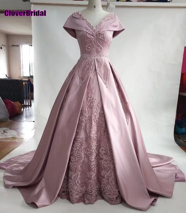 CloverBridal 2017 dusty pink beaded rectangle patterns vintage   prom     dresses   big shoulder capes party vestido longo festa