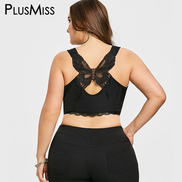 3c7c4340feeb3 PlusMiss Plus Size Summer 2018 Sexy Butterfly Black Lace Camisole Top  Fitness Bandage Crop Top Women Big Size Bustier Tank Camis