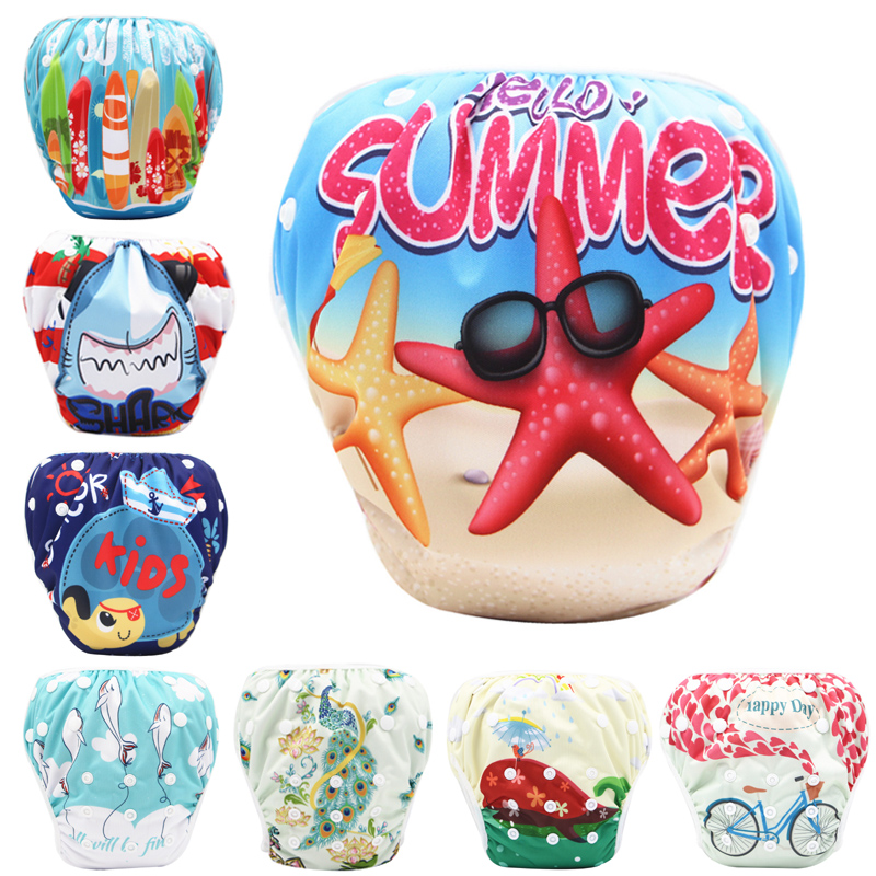 2pcs/lot Baby Swim Diaper Adjustable Cloth Diapers Cover Newborn Swimwear Bathing Suit Waterproof Reusable Washable Baby Nappy