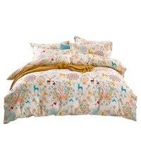 Home Textile 4pcs/set Bedding Set Duvet Cover Bed Sheet Pillow Case 100% Cotton Nine Color Moose Flowers Design 2 size L/XL