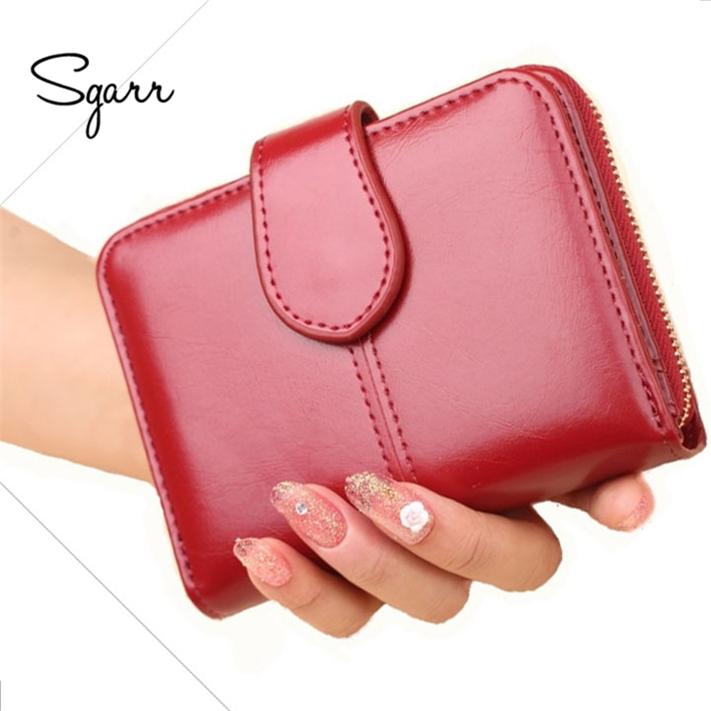 SGARR 2018 New Women Wallets Leather Card Holder Wine Red Short Clutch Small Girls Wallet Fashion Female Purse Lady dd001263 fashion stylish women lady girls short red wine color cosplay wigs cap as gift