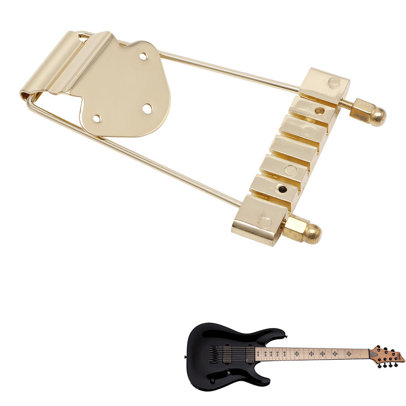Gold Guitar Tailpiece Trapeze Open Frame Bridge For 6 String Archtop Guitar black 6 string saddle guitar tailpiece tremolo bridge for headless guitar replacement