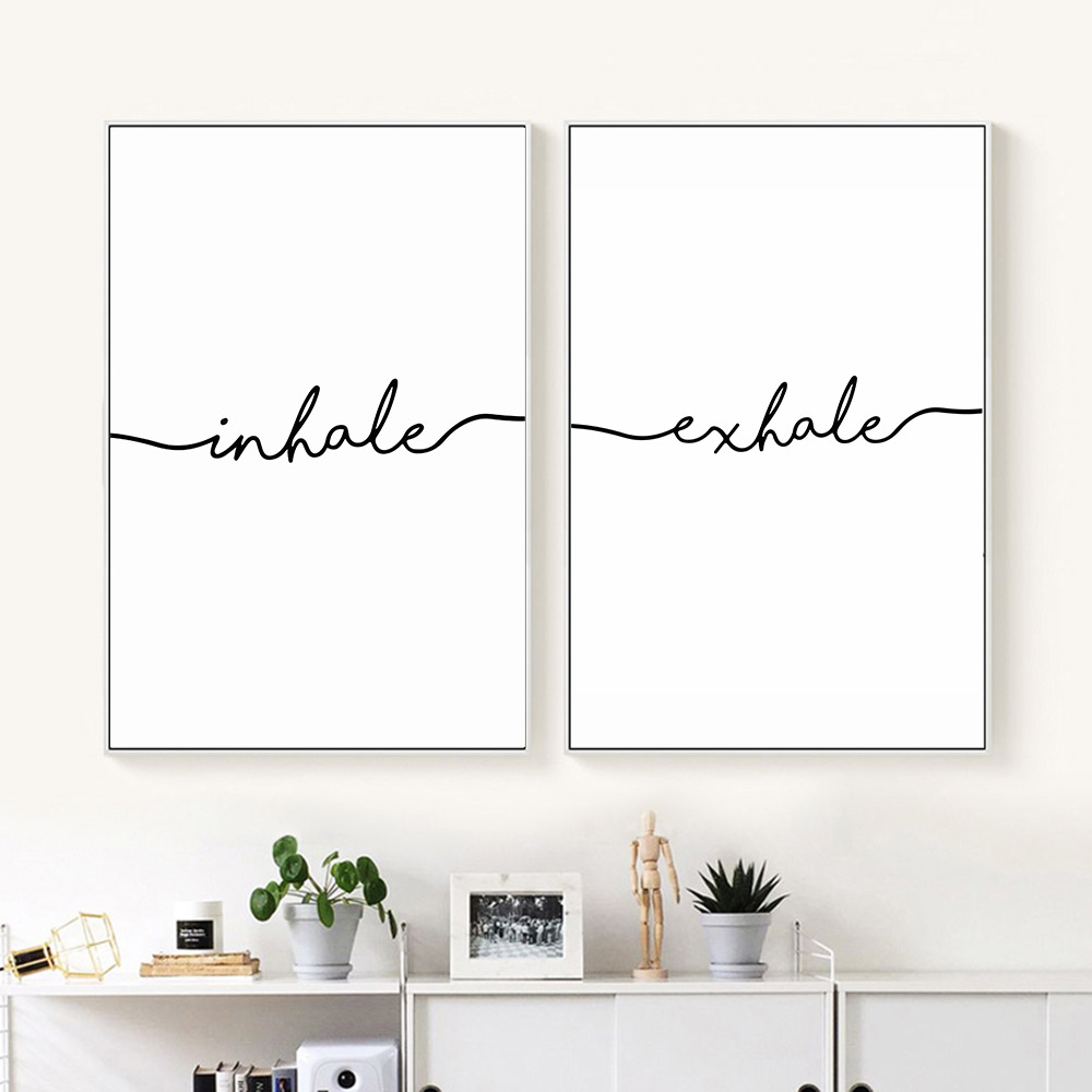 Inhale exhale nordic poster minimalist canvas art prints for Minimalist wall painting
