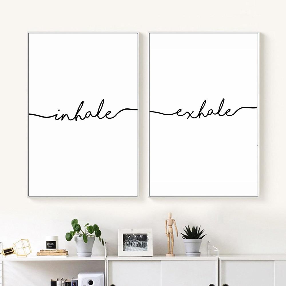 Inhale Exhale Nordic Poster Minimalist Canvas Art Prints