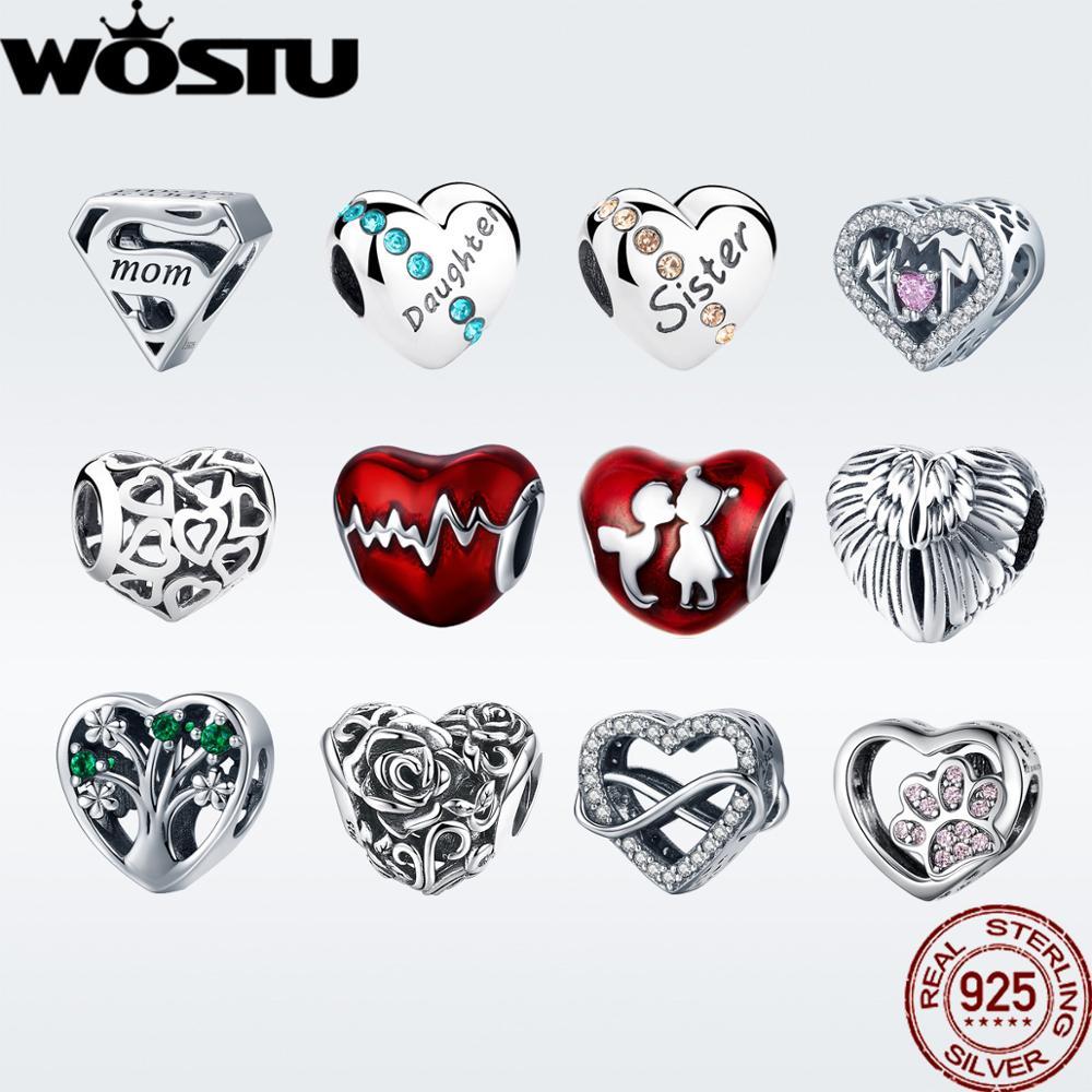 WOSTU Beads Charm Jewelry Bracelet Diy 925-Sterling-Silver Original Heartbeat Gift DXC249