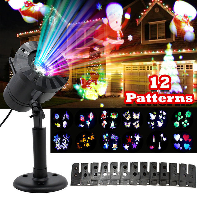 12 Patterns Mini Christmas Lights Outdoor Projector Laser garden ...