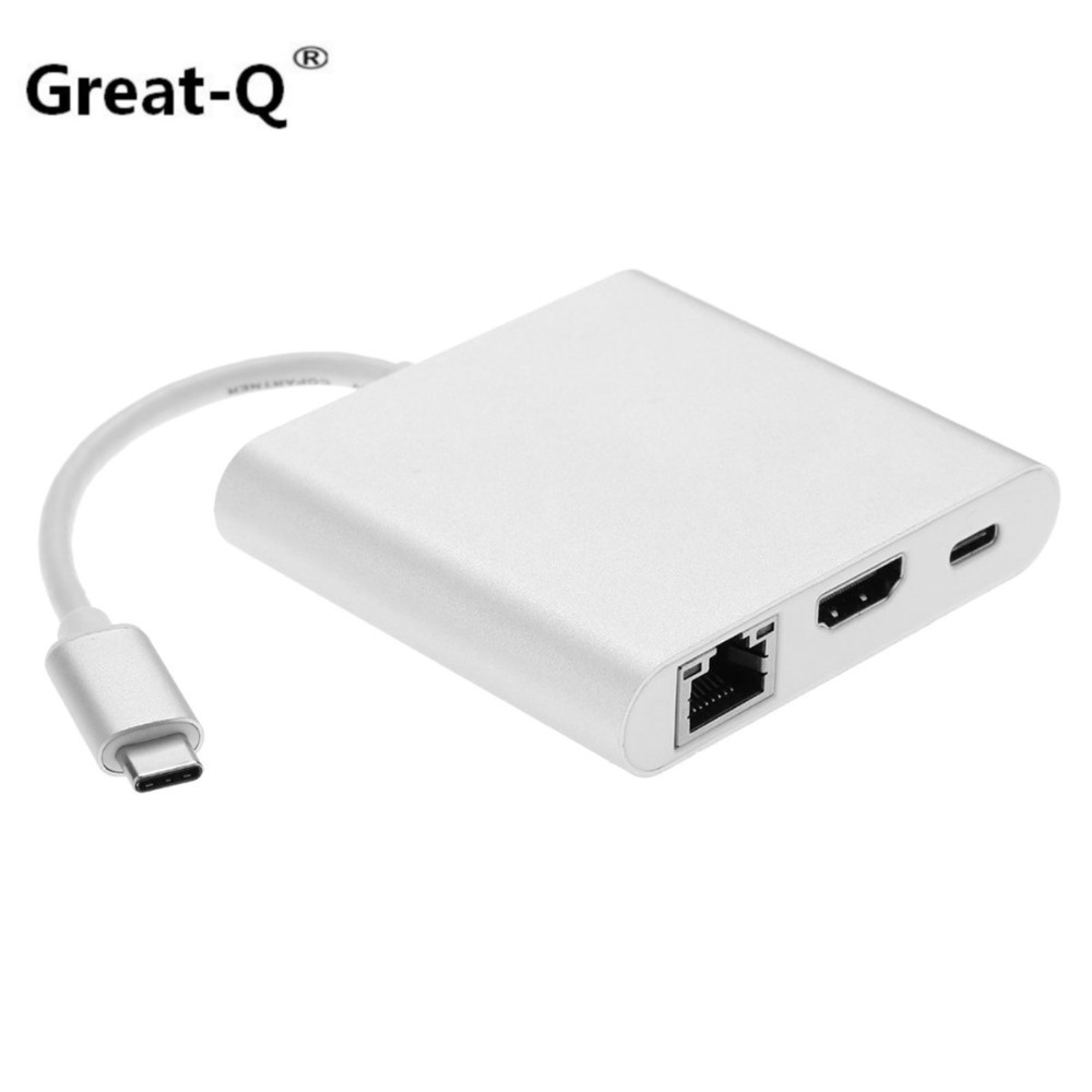 Great-Q  USB-C USB 3.1 Type C to HDMI Digital AV & USB OTG & Gigabit Ethnernet & Female Charger Adapter for Laptop type c to 8 pin otg type c adapter