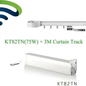 Dooya Electrical Curtain Motor KT82TN Remote 100-240V 50/60MHZ+ 3M Customizable Aluminum Window Curtain Rail Rod Track