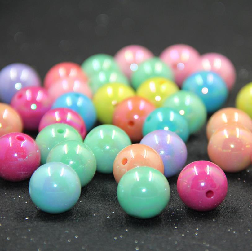 Wholesale 500g/pack AB Color Round Acrylic Beads 6/8/10/12/14/16/18/20mm Loose Spacer Beads For Jewelry Making DIY Bracelet