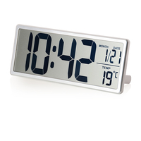 Large LCD Screen Digital Wall Clock With Kickout Stand For Desk Display Temperature Date Snooze Alarm