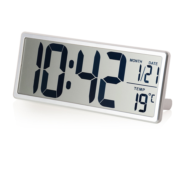 Large LCD Screen Digital Wall Clock with Kickout Stand for Desk