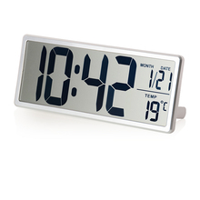 Large LCD Screen Digital Wall Clock with Kickout Stand for Desk Display Temperature Date Snooze Alarm Clock Battery Powered