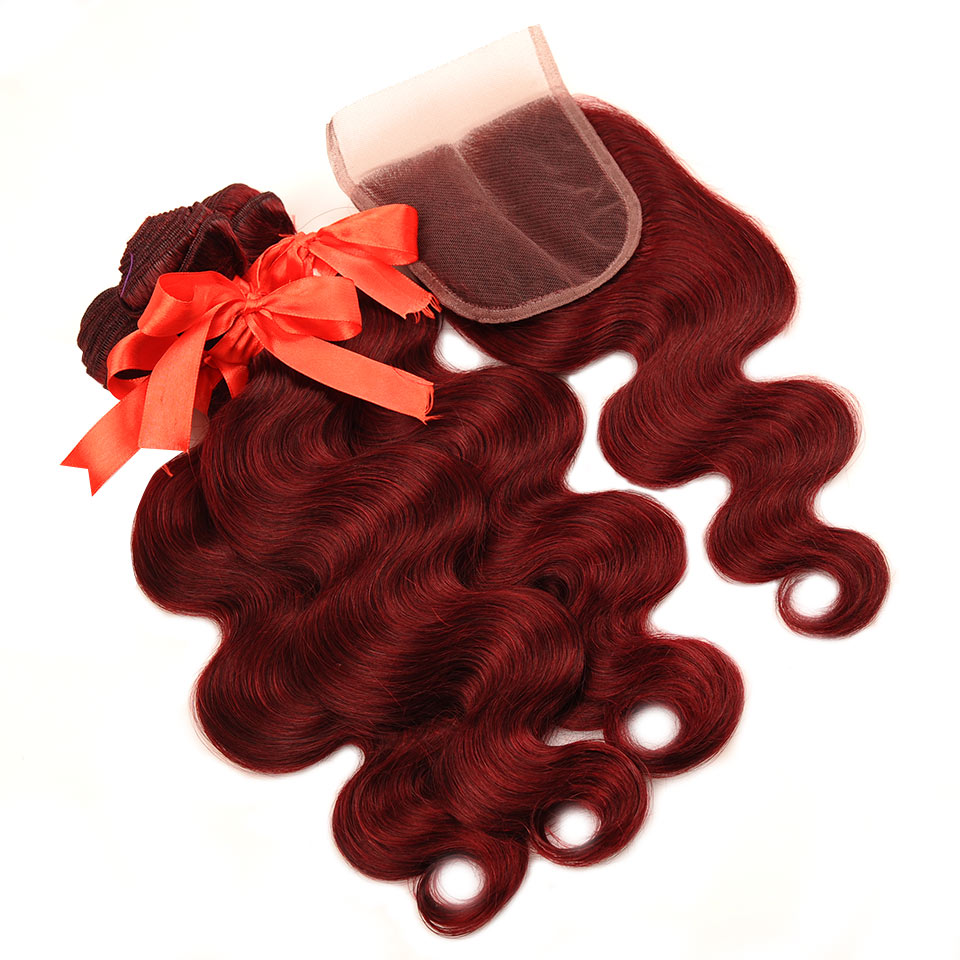 HTB1K8yLj3vD8KJjSsplq6yIEFXa0 Pinshair 99J Hair Red Burgundy Bundles With Closure Brazilian Body Wave Human Hair Weave Bundles With Closure Non Remy No Tangle