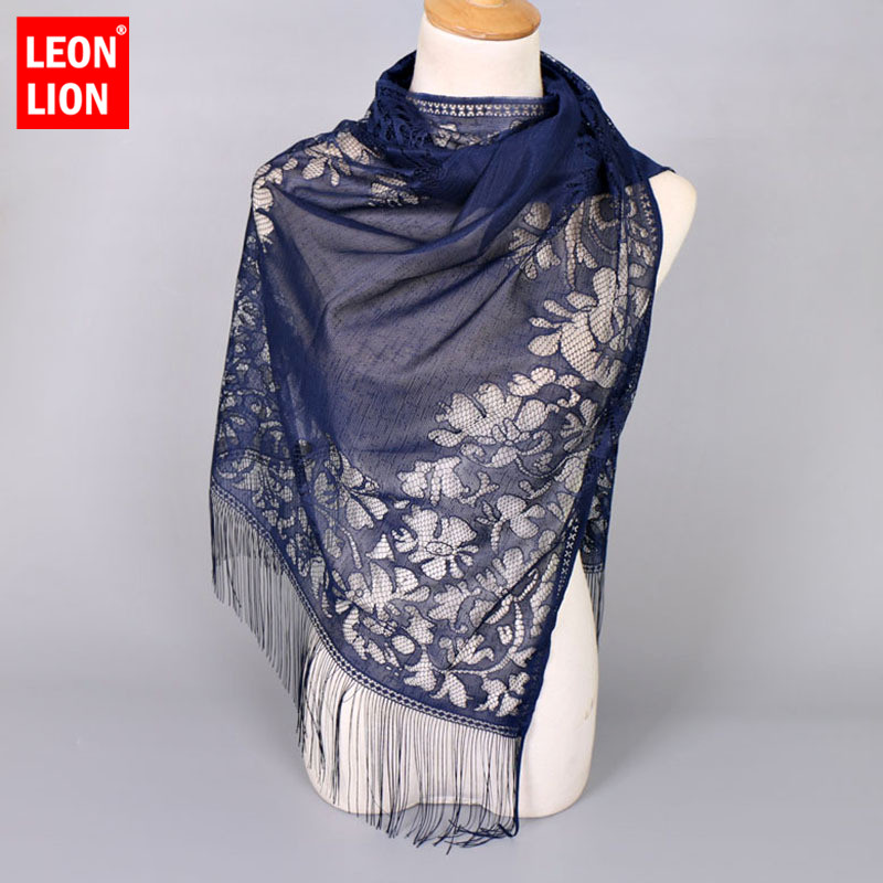 Women   Scarf   Solid Color Tassel Hanging Gauze Lace Hollow Fashion   Scarf   Clothing Sjaal   Wrap   Ladies Shawl Large   Scarves     Wrap   Head