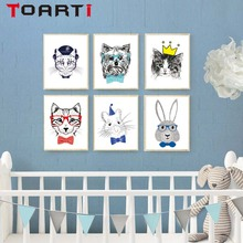 Nordic Minimalist Animal Dog Mouse Rabbit Print Poster Wall Ar Canvas Painting Wall Picture For Kids Room Bedroom Home Decor