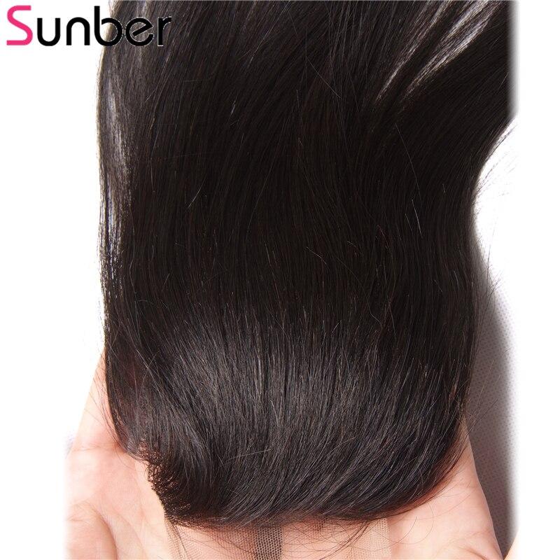 Sunber индийские волосы прямые волосы Связки с закрытием, волосы remy расширения 100% человеческих волос Weave 3 Связки и кружева закрытия 4X4