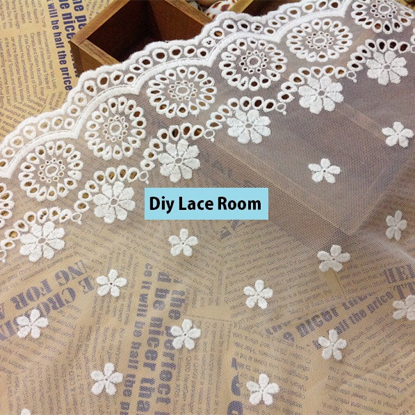 42cm wide 4yards/lot Free Shipping Exquisite Embroidered Lace Trim Circle Flower Lace Fabric Sewing Trim DIY Craft Accessary 958