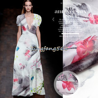 Designer 100% Natural mulberry silk hard semipermeable grid clothing fabric satin ink flower dresses 1m WG30