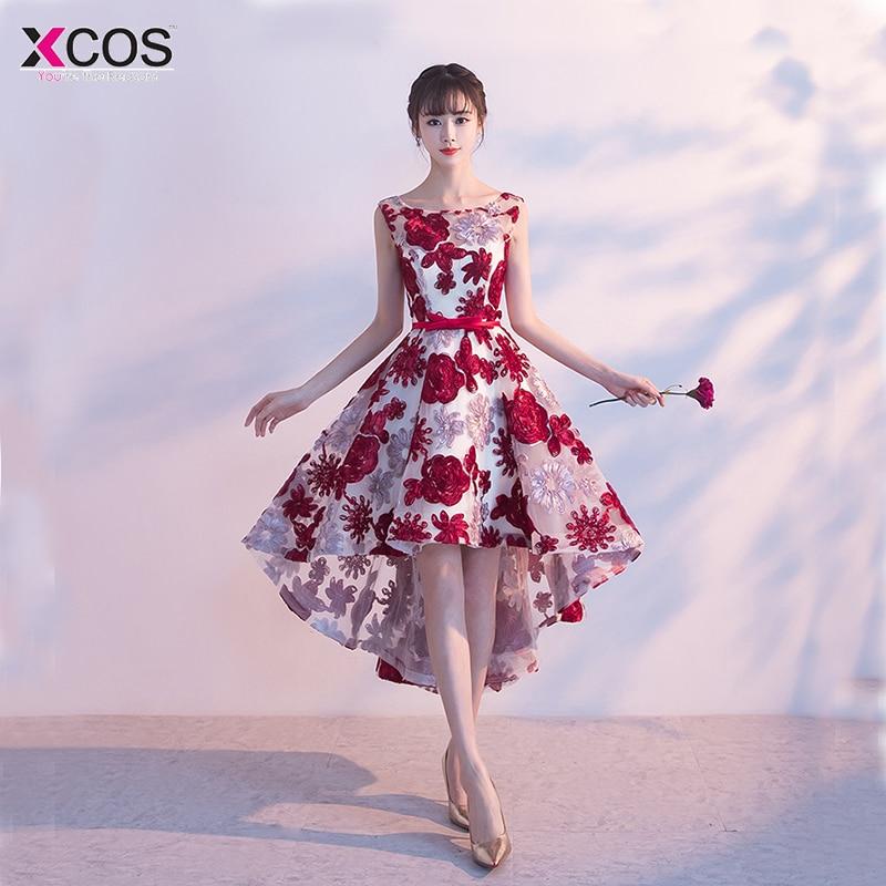 2018   Cocktail     Dresses   Burgundy Flower High Low Robe De Vestidos De Coctel Evening Party Gowns For Graduation cocteleria