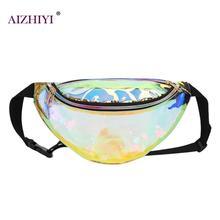 Női Lézernyomtató Fanny Derékcsomagok PVC Hologram Fényes Női mellkasi táskák Teavel Fashion Girls High Quaity válltörő 2018