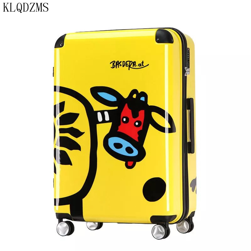 KLQDZMS 20/24inch Lovely Cartoon Pattern ABS+ PC Rolling Luggage Spinner  Travel Suitcase Trolley Bag On Wheels