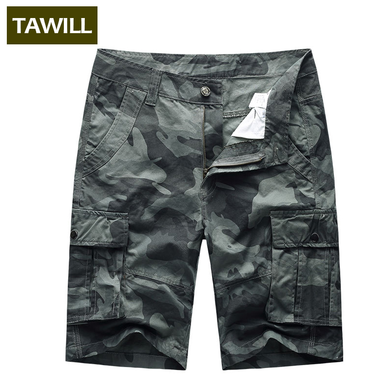 TAWILL Mens Shorts Military Camouflage Cargo Jeans Short Pants 100% Cotton Casual Cargo Shorts Pants Size Brand Clothing 1893D