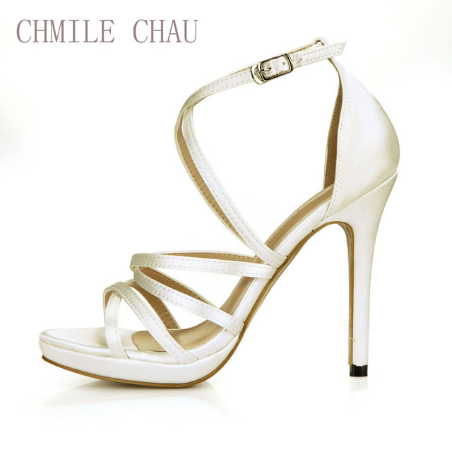 CHMILE CHAU Ivory Satin Sexy Bridal Women Shoes Stiletto High Heel  Gladiator Rome Ankle Strap Sandals Zapatos Mujer 0640A-4d 16c55d3eee6f