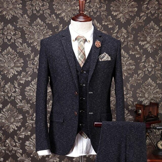 3fec7eadc75d Brand men clothing men formal business wedding dress suit sets suit coat +vest+pant/trousers Grey slim fit dinner suits jacket