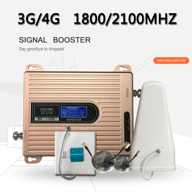 LCD Display Dual Band DCS 1800 Mhz 3G WCDMA UMTS 2100 Mhz Mobile Signal Repeater 3g 4g Cell Phone Signal Booster Amplifier