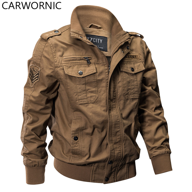CARWORNIC Military Pilot Jackets Men Winter Autumn Bomber Cotton Coat Tactical Army Jacket Male Casual Air Force Flight Jacket