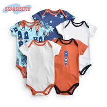 SSANSISITER 5PCS/Lots Summer Rompers Infant Cotton Printed