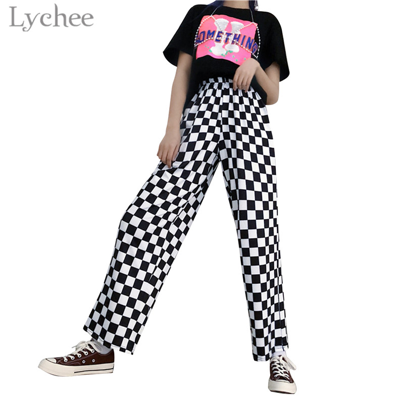 Lychee Harajuku Plaid Checkerboard Women   Pants   Elastic Waist Casual Loose Full Length   Wide     Leg     Pants