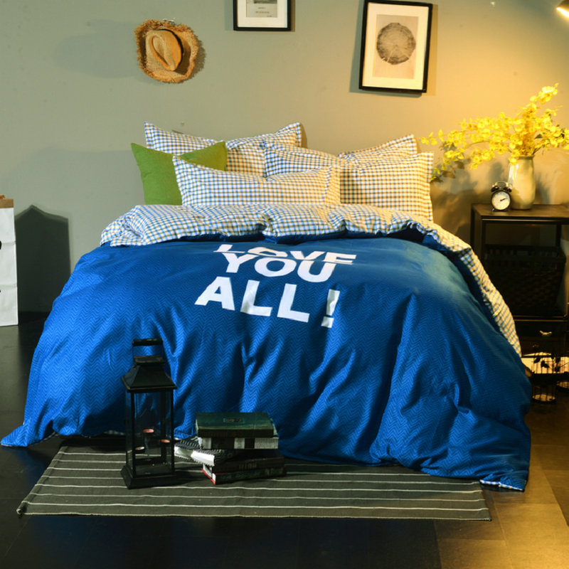 Dark Blue+White Letters Pattern Home Textile Bedding Set Print Double Bed Sheet Queen Size 100% Cotton Soft Bed Set Pillowcase Dark Blue+White Letters Pattern Home Textile Bedding Set Print Double Bed Sheet Queen Size 100% Cotton Soft Bed Set Pillowcase