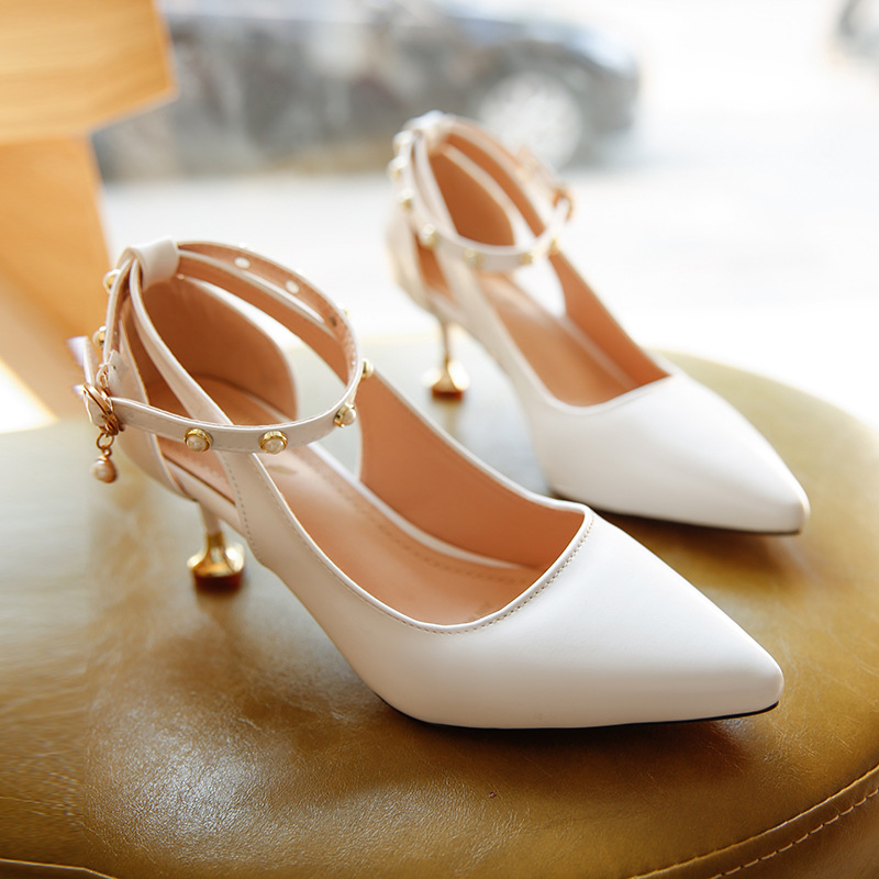 Ankle Pearl Strap Pointed Toe Sexy Kitten Heels Shoes Ladies 2018 Spring Summer High Heel Pumps Women Wedding Shoe White black square heel pointed toe hollow shoes women buckle strap fashion ankle strap high heels pumps white summer plus size ladies